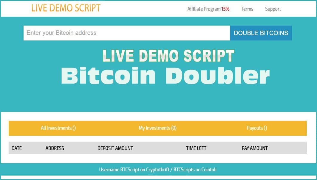 Bitcoin Doubler PHP Website Script Free Download